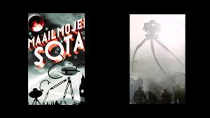 Kuvassa H.G. Wellsin Maailmojen sota tieteisromaanin kannesta sekä Steven Spielbergin samannimisestä elokuvasta.