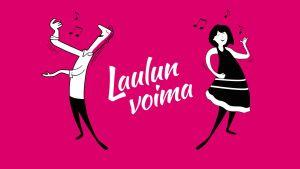 Laulun voima -yhteislaulutilaisuuden graafinen kuva. Kuvassa kaksi hahmoa laulaa.