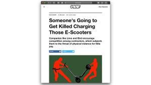 Bild av en artikel om dem som laddar sparkcyklar.