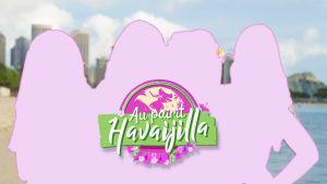 Au pairit Havaijilla -hahmot silhuettina. Taustalla Havaiji-maisema.