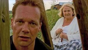 Näyttelijät Puntti Valtonen ja Anja Pohjola elokuvassa Emmauksen tiellä.