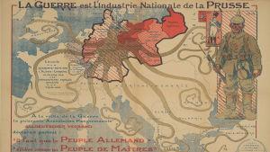 Ranskalainen propagandakartta Ensimmäisestä maailmansodasta, jossa Preussi näytetään mustekalana