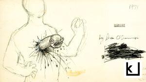 Alien-elokuvan hahmotelma-piirros, jossa hirviö tulee ihmisen vatsasta.