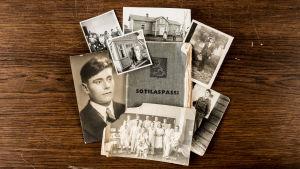 sotilaspassi ja päähenkilön vanhoja valokuvia