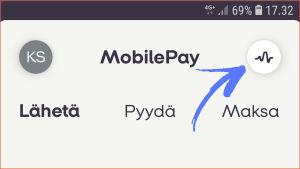 Kuvakaappaus MobilePay-sovelluksesta: Tapahtumat-tiedot aukeavat ylälaidan käppyräikonista.
