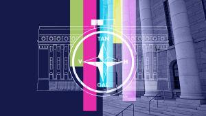 Illustration av en valkompass mot riksdagshuset i bakgrunden.