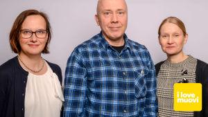 Jaana Lindman, Vesa Kärhä ja Maija Pohjakallio, Radio Suomen muovi-illan asiantuntijat.