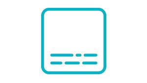 Turkoosin pyöreäreunaisen neliön sisällä kaksi riviä tekstiä kuvastavia eripituisia katkoviivoja.