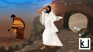 Kuvituskuva, jossa Jeesus nousee kuolleista. Kuvan laidassa on ihminen, joka ei huomaa tapahtunutta.
