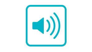 Ljudsymbolen består av en en högtalare med tre streck som symboliserar ljudsignaler inne i en turkos fyrkant med rundade hörn.