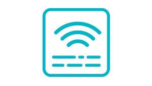 Symbolen består av tre streck som symboliserar ljudsignaler inne i en turkos fyrkant med rundade hörn. Inne i fyrkantens nedre del, två rader med streck med varierande längd som symboliserar text.