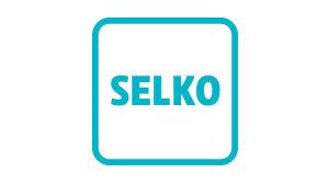 Symbolen består av en turkos fyrkant med rundade hörn. Inne i fyrkanten texten SELKO i turkost.
