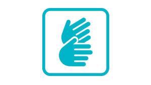 Symbolen för dövas teckenspråk består av en turkos fyrkant med rundade hörn. Inne i fyrkanten två turkosa händer, varav den ena är vågrät och den andra i 45 graders vinkel pekandes uppåt.