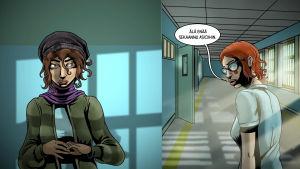 Sarjakuva-animaatio, jossa kaksi naista käytävällä.
