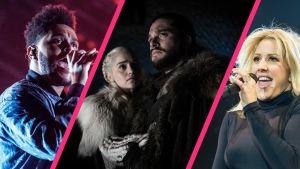 Laulaja The Weeknd, Game of Thrones -sarjan hahmot Daenerys Targaryen ja Jon Snow ja laulaja Ellie Goulding kollaasikuvassa