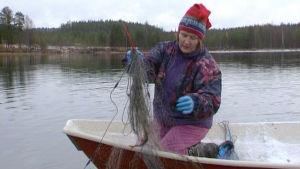 Kuhmolainen nainen kalaverkoilla