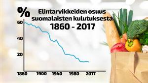Ruuan osuus kotitalouden menoista on laskenut 150 vuotta.
