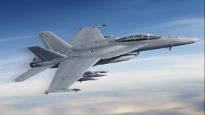 Super Hornet -hävittäjä lentää taivasta vasten.