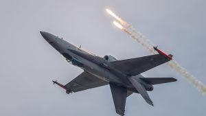 Suomen ilmavoimien Hornet F/A-18 -hävittäjä lentää.