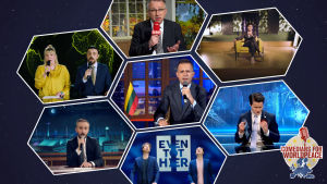 Kuvakaappaus Comedians for World Peace -hankkeen EU-laulun musiikkivideosta