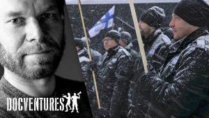 Kalle Kinnunen ja taustalla kuva elokuvasta Seinäjoen arabikevät