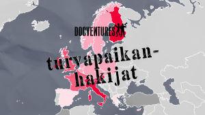 Euroopan kartta, jossa päällä teksti turvapaikanhakijat ja Docventures-logo