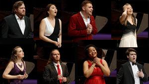 De åtta finalisterna i Mirjam Helin-sångtävlingen.