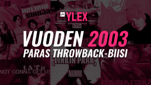 """Kuvassa teksti """"Vuoden 2003 paras Throwback-biisi"""" ja taustalla kansikuvia kyseisen vuoden kappaleista."""
