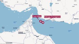 En karta över Omangulfen utanför Dubai utmärkt på kartan är vart oljetankern brinner.