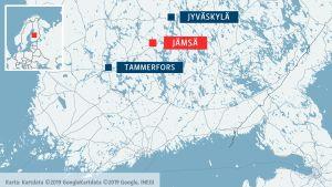 Karta över södra och mellersta Finland med Tammerfors, Jämsä och Jyväskylä utmärkta