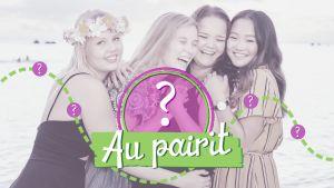 Au pairit Havaijilla ohjelman au pairit yhdessä rannalla, kuvan päällä Au pairit -ohjelman logo