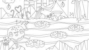 Pikku Kakkosen Eskari värityskuva donitsin huone