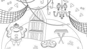 Pikku Kakkosen Eskari värityskuva Lonkeroisen huone