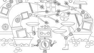 Pikku Kakkosen Eskari värityskuva Robotin huone