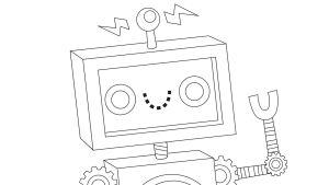 Pikku Kakkosen Eskari värityskuva robotti