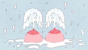 Piirroskuvassa kaksi rintaa, joista suihkuaa maitoa. Rinnat on aseteltu kuvaan siten, että ne näyttävät suihkulähteiltä.