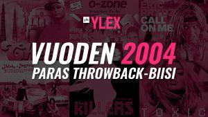 """Kuvassa teksti """"Vuoden 2004 paras Throwback-biisi"""" ja taustalla albumin kansikuvia kyseisen vuoden kappaleista."""