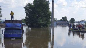Översvämning i Sibirien.