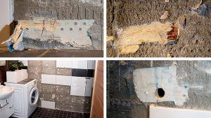 Yksityiskohtia Satu Mustosen ja Tuomo Ylänteen kylpyhuoneen rakennusvirheistä.