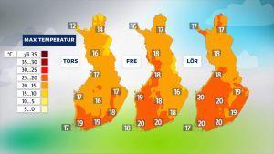 Väderkartor som visar att det blir varmt till helgen.