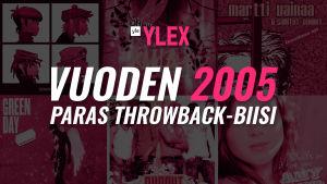 """Kuvassa teksti """"Vuoden 2005 Paras Throwback-biisi"""" ja sen taustalla kyseisen vuoden albumikansikuvia."""