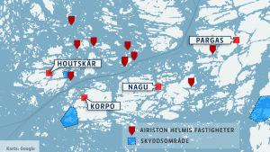 Karta på Airiston Helmis fastigheter och försvarsmaktens skyddsområde.