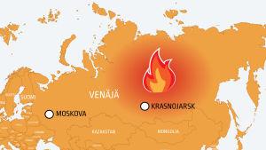 Kartta Siperian metsäpaloista Venäjällä