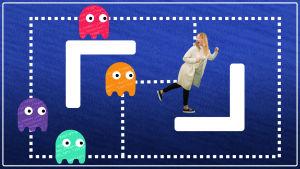 Emilia Laurila juoksee karkuun Pacman-pelin haamuja graafisessa kuvassa.