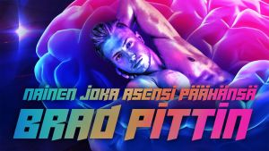 Lihaksikas mies makaa selällään käsi niskan takana sinipunaisten aivojen päällä. Kuvituskuva kuunnelmaan Nainen, joka asensi päähänsä Brad Pittin.