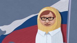 Kaj Arnö illustrerad som rysk docka med Rysslands flagga i bakgrunden