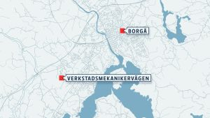 Verkstadsmekanikervägen placerad på en karta i Borgå.