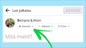 Kuvakaappaus Facebookista: Ns. Yleisönvalitsin muistaa, minkä asetuksen viimeksi valitsit.