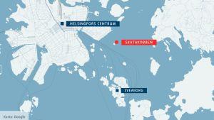 Karta över öarna utanför Helsingfors.