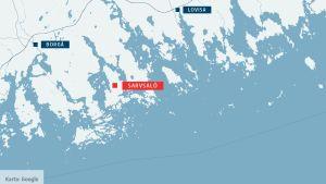 Karta över Sarvsalö.